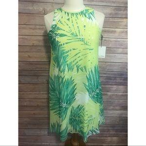 90dd8bad93bf NWT Calvin Klein green white palm leaf print dress